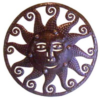 Haitian oil drum sculpture sun