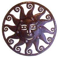 Haitian oil drum sculpture sun