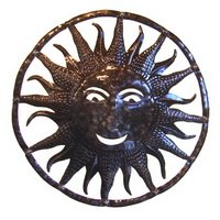 Haitian oil drum art sun